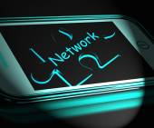 Network Smartphone Displays Connecting And Communicating On Web — Stock Photo