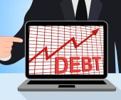 Debt Graph Chart Displays Increasing Financial Indebted — Stock Photo