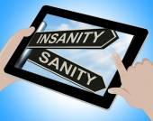 Insanity Sanity Tablet Shows Crazy Or Psychologically Sound — Stock Photo