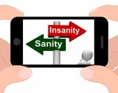 Insanity Sanity Signpost Displays Sane Or Insane — Stock Photo