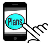 Plans Button Displays Objectives Planning And Organizing — Foto de Stock