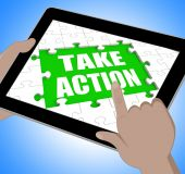 Take Action Tablet Means Urge Inspire Or Motivate — Stock Photo