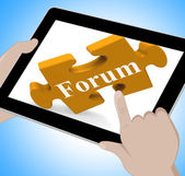 Forum Tablet Shows Internet Discussion And Exchanging Ideas — Stock Photo