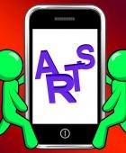 Arts On Phone Displays Creative Design Or Artwork — Stock Photo