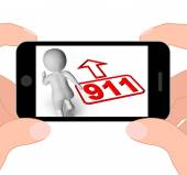 Running Character And 911 Nine One Displays Emergency Help Rescu — Stock Photo