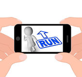 Run And 3D Character Displays Urgent Running — Stock Photo