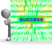 Success Word Cloud Sign Shows Succeed Winning Triumph And Victor — Stock Photo