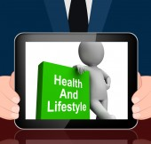 Health And Lifestyle Book With Character Displays Healthy Living — Stock Photo