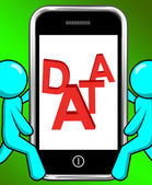 Data On Phone Displays Facts Information Knowledge — Stock Photo