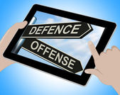 Defence Offense Tablet Shows Defending And Tactics — Stok fotoğraf