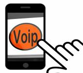 Voip Button Displays Voice Over Internet Protocol Or Broadband T — Stock Photo