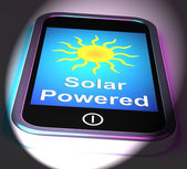 Solar Powered On Phone Displays Alternative Energy And Sunlight — Stock Photo