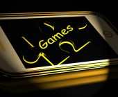 Games Smartphone Displays Internet Gaming And Entertainment — Stock Photo