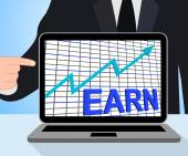 Earn Graph Chart Displays Increase Earnings Growing — Stock Photo