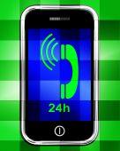 Twenty Four Hour On Phone Displays Open 24h — Stock Photo
