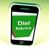 Diet Advice on Phone Shows Healthy Diets — Stock Photo