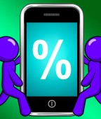Percent Sign On Phone Displays Percentage Discount Or Investment — Stock Photo
