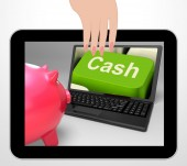 Cash Key Displays Online Finances Earnings And Savings — Stock Photo