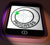 Progress Smartphone Displays Advancement Improvement And Goals — Zdjęcie stockowe