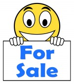 For Sale On Sign Means Purchasable Available To Buy Or On Offer — Stock Photo
