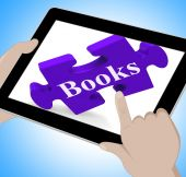 Books Tablet Means E-Book Or Reading App — Stock Photo