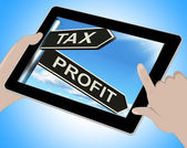 Tax Profit Tablet Means Taxation Of Earnings — Stock Photo