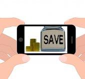Save Jar Displays Save Or Set Aside Money And Finances — Stock Photo