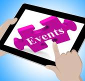 Events Tablet Shows Calendar And What's On — Stock Photo