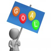 Sign Goal Balloons Represent Promoted Wishes Dreams Goals and ho — Stock Photo