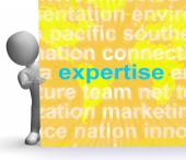 Expertise Word Cloud Sign Shows Skills Proficiency And Capabilit — Stock Photo