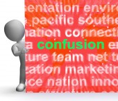Confusion Word Cloud Sign Means Confusing Confused Dilemma — Stock Photo