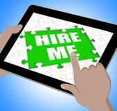 Hire Me Tablet Means Self Contracting Or Applying For Job — Stock Photo