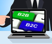 B2B And B2C Keys Displays Business Partnerships Or Consumer Rela — Stock Photo