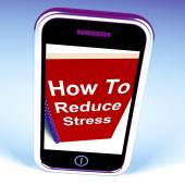 How to Reduce Stress Phone on Notebook Shows Reducing Tension — Stock Photo