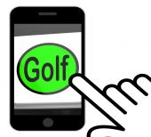 Golf Button Displays Golfer Club Or Golfing — Stock Photo