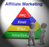 Affiliate Marketing Symbol Means Internet Advertising And Public — Stock Photo
