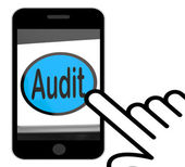 Audit Button Displays Auditor Validation Or Inspection — Stock Photo