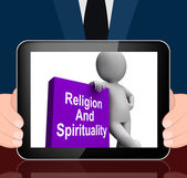 Religion And Spirituality Book With Character Displays Religious — Stock Photo