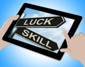 Luck Skill Tablet Shows Expert Or Fortunate — Stock Photo