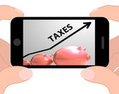 Taxes Arrow Displays Higher Taxation And Levies — Stock Photo