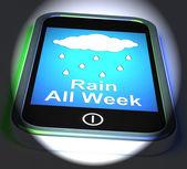 Rain All Week On Phone Displays Wet  Miserable Weather — Stock Photo