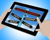 Jesus Christ Tablet Means Faith Worship Peace And Love — Stock Photo