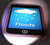 Floods On Phone Displays Rain Causing Floods And Flooding — Stock Photo