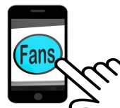 Fans Button Displays Follower Or Internet Fan — Stock Photo