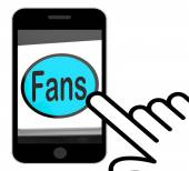 Fans Button Displays Follower Or Internet Fan — Stock Photo