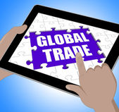Global Trade Tablet Shows Web International Business — Stock Photo