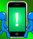 Exclamation Mark On Phone Displays Attention Warning — Stock Photo