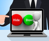 Hide Show Buttons Displays Seek Find Look Discover — Stok fotoğraf