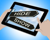 Hide Show Tablet Means Obscured And Visible — Stock Photo
