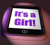 It's A Girl On Phone Displays Newborn Female Baby — Stock Photo